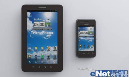 图 2 3.5寸智能手机和7寸Pad的对比