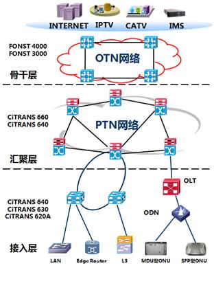图4 OTN+PTN组建传输网络